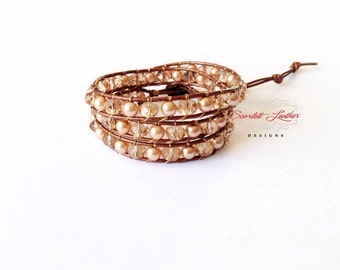 wrap bracelet, leather wrap bracelet, bronze bracelet, champagne crystals, bronze pearls, triple wrap bracelet, bronze button, gold bracelet