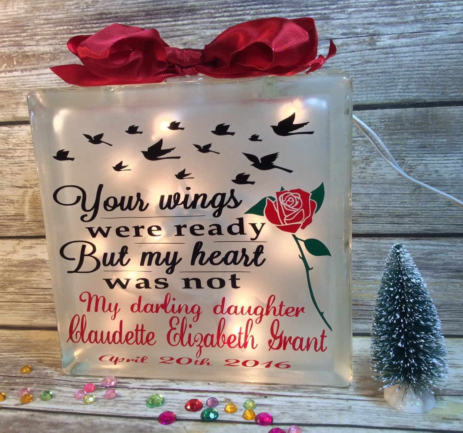 Your Wings Were Ready But My Heart Was Not Lighted Glass Block