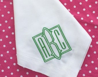 Monogrammed Dinner Napkins - Embroidered - Personalized Cloth Napkins - Wedding Linens - Shower Hostess 100% Cotton - Green White & Other