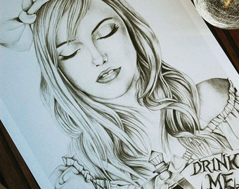 Drink Me Alice In Wonderland A3 Art Print