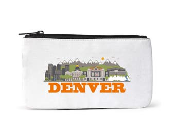 City Living Pouch - Denver - Colorado -  Zipper pouch - Cosmetic pouch - Toiletry bag - Travel pouch  - Birthday Gift - Hometown - Organic