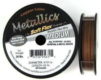Soft Flex Metallics Copper Size Medium .019 30ft Spool Beading Wire