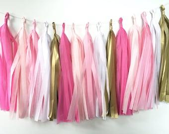 Tissue Tassel Garland 20 Tassels. Pink, Gold and White