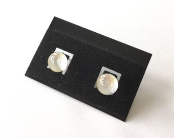 Silver sparkly studs, dichroic earrings, sterling silver earrings, sparkly earrings, fused glass earrings, dichroic glass, sparkly studs