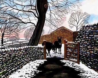 "Art Print: ""Donkeys' first snow"" - A4 donkey print, wall art, donkey painting, donkeys in snow, from an original painting by Liz Clarke"