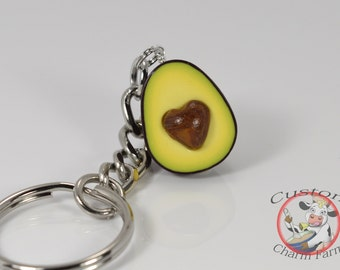 I Heart Avocado / Avocado Keychain Miniature Food Keychain