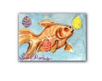Goldfish Lovers! Original ACEO Artwork Miniature  llmartin  Watercolor Easter Fish 2