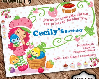 SALE 50% OFF Strawberry Shortcake Birthday Invitation - Birthday Invitation for Girl - Strawberry Invitation - Strawberry Celebration