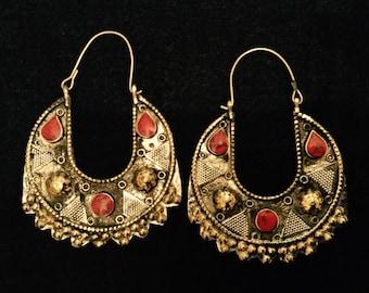 Earrings / boho earrings / tribal fusion bellydance / gypsy / bohemian / bellydance / burning man / outstanding ethnic / ibiza / red earrings