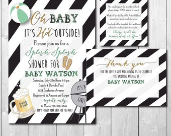 Couples Baby Shower Invitation, Baby Q Invitation, Couples Baby Q, Pool, Swim, Coed/printable/Digital File/Wording & Colors can be changed