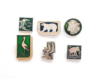 Vintage Soviet pin badges - Animals, zoo / USSR, 1970s