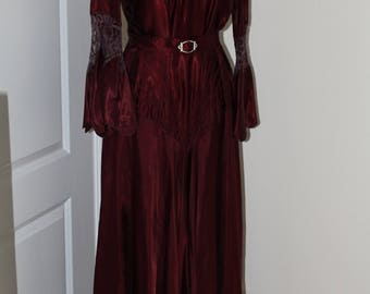 Vintage 1937 Burgundy Satin Gown