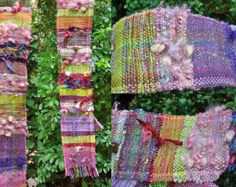 """Moai"" woven hand from hand spun wool scarf"