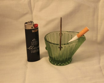 Vintage Green Glass Coal Bucket Ashtray Federal Glass