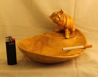 Vintage Cow Bull Cigarette Ashtray Ceramic Yellow Gold Trim Tobacco Smoker gift