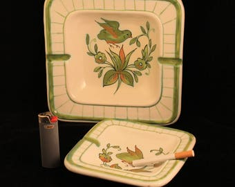 Vintage Ashtray Pair Square Hand Made Florence Italy White Green Birds FZR