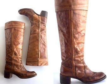 Size 7.5 | Vintage Frye Black Label Knee High Campus Boots, 1970's Frye Black Label Campus Boots Size 7.5