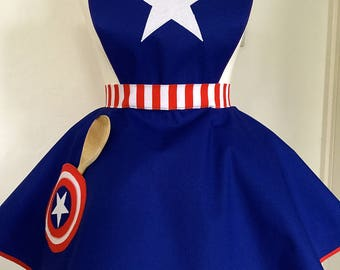 Captain America Inspired Adult Apron