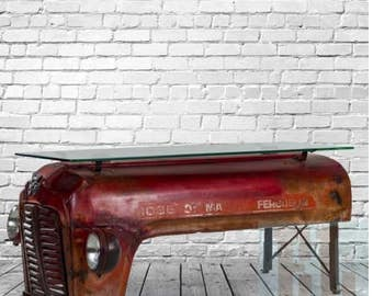 Upcycled Original Massey Ferguson Tractor CoffeeTable with Glass Counter Top.