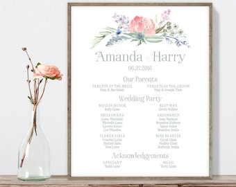 Boho Wedding Welcome Sign / Bridal Party Sign / Blush Flowers, Boho Flowers, Bohemian Greenery ▷ Printable File {or} Printed & Shipped