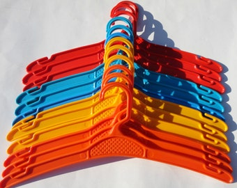 70s Plastic Hangers In Bright Colors // 12 Pieces // Made In Denmark
