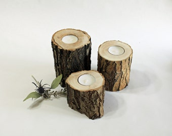 Set of 3 reclaimed Willow Wood Candle Holder, Wood Tea Light Holders, Rustic Candle Holders, Rustic Wedding Centerpiece, House Warming Gift