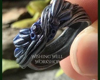 Polymer Clay Blue Woodland Fantasy Ring