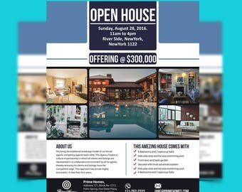 Real Estate Advertising Flyer Open House Template - Editable in Microsoft Word, Publisher, Powerpoint, Photoshop INSTANT DOWNLOAD KOR-033A