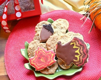 Thanksgiving Gift, Turkey, Holiday, Fall, Cookie Delivery, Shortbread, Gourmet Cookies, Handmade Cookies, Custom Decorated Cookies, Dessert