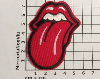 """Rolling Stones Iron on patch Rock band embroidered red tongue 3""""x 2,4"""""""