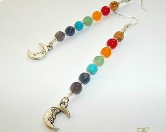 Moon Chakra Earrings, Chakra Earrings, Moon Earrings, Rainbow Earrings, Man In The Moon, Gemstone Earrings, Long Drop, Pagan, Wiccan, Wicca