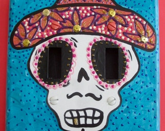 Mariachi Day of the Dead skull double switchplate