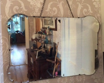 Vintage Bevelled Edge Art Deco Mirror Fancy Edge 1930-40s