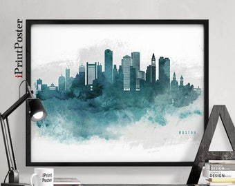 Boston poster, Boston watercolour print, Massachusetts, Travel, Art, Home Decor, Painting, Blueish, Wall art, City prints, iPrintPoster.
