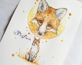 fox print, fox art, fox decor, fox nursery decor, fox decor, fox painting, woodland creatures, woodland animals, woodland decor, fox gifts,