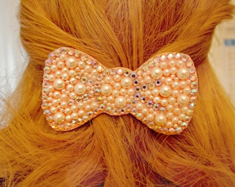 Bow pearl and Swarovski clips for hair