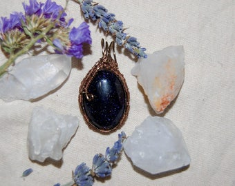 Blue Goldstone Cabochon Pendant