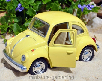 VW Beetle Pastel, Color Options: Buttercup Yellow for Miniature Garden, Fairy Garden