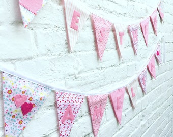 Personalised bunting, Customised bunting,Handmade bunting, Name bunting, Baby girl bunting, Pink bunting