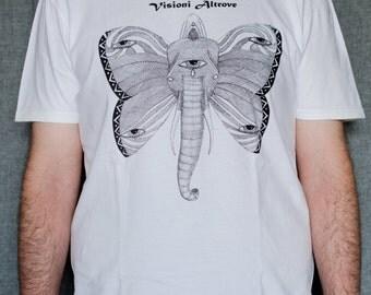 Psychedelic trip, tshirt, silkscreen, elephant, butterfly