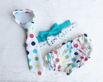 Cake Smash Outfit Boy - Rainbow Polka Dot First Birthday Outfit - Tie and Diaper Cover - First Birthday Photos Outfit - Photo Prop for Baby
