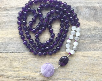 Amethyst and Moonstone 108 Mala Beads Necklace No Tassel /Yoga Necklace Buddha / Japa Mala Beads / Mala Necklace for Women / Yoga Necklace