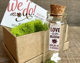 """Floral wedding invites! """"Love is in Bloom"""" Message in a bottle wedding invitations, unique and creative"""