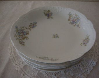 5 Lot Antique LIMOGES France Blue FLORAL Spray porcelain coupe Soup Salad Cereal Ruffled BOWLS Shabby Chic China French Country Dishes