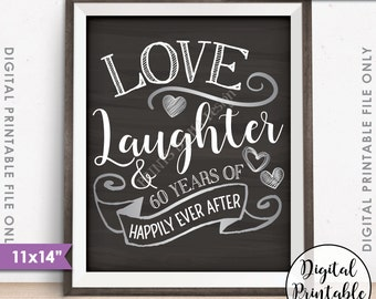 """60th Anniversary Gift, Love Laughter Happily Ever After 60 Years of Marriage Milestones, Instant Download 11x14"""" Chalkboard Style Printable"""