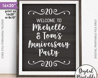 "Anniversary Party Sign, Welcome to the Anniversary Party Decorations, Wedding Anniversary Gift, PRINTABLE Chalkboard Style 8x10/16x20"" Sign"