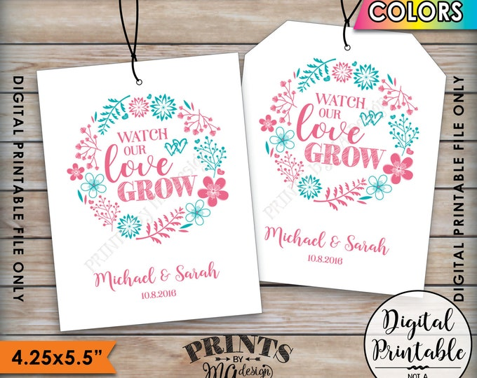 Watch Our Love Grow Tags, Wedding Tags, Suculents Tag, Plant Seeds Tag, Tree Sapling Tag, Wedding Favor Tags, Color Digital Printable File