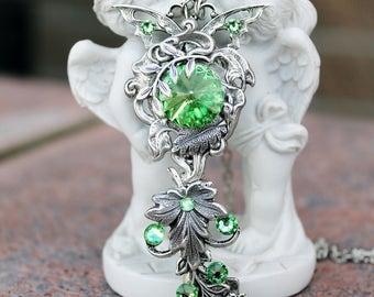 Fantasy victorian silver plated swarovski green key necklace