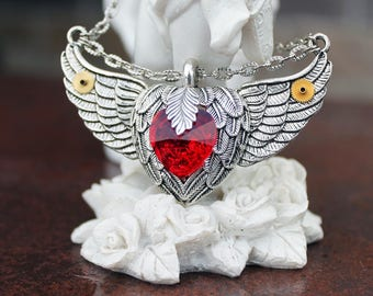 Steampunk winged swarovski red necklace
