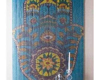 Bamboo beaded curtain Hamsa Hand Blue Bohemian Boho Hand Painted
